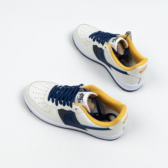 """Cheap Nike Air Force 1 Low """"Misplaced Swoosh"""" White Blue Yellow CK7214-101 39-45 Shoes"""
