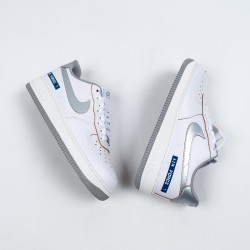 """Nike Air Force 1 Low """"Label Maker"""" White Grey Blue DC5209-100 36-45"""